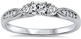 Cubic Zirconia Fashion Promise .925 Sterling Silver Ring Sizes 3-12