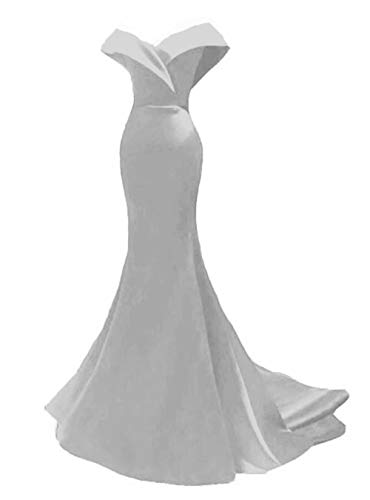 Off The Shoulder Mermaid Prom Dresses Long Bridesmaid Dresses Wedding Party Gowns for Women Plus Size Silver
