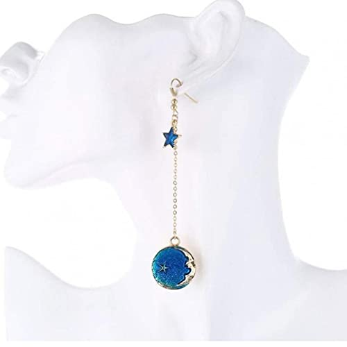 Onsinic 1 Par Pendientes Star Pendientes Establecer Asimétricos Largo Colgante Hook Colgle Stud Pendientes para Mujeres Azul