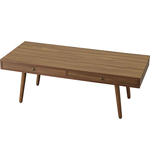 アイリスプラザローテーブル収納引出しウォルナット110×48×38(㎝)収納付きテーブルLTD-1148