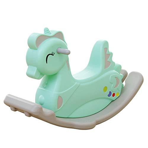 LITING Caballo Mecedora para Niños Pequeño Caballo Bebé Juguete Plástico Espesamiento Grande Bebé Mecedora Caballo (Color : Green)