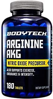BodyTech Arginine AKG (Arginine Alpha Ketoglutarate) 3000 MG Nitric Oxide Precursor, 60 Servings (180 Tablets)