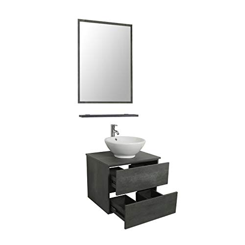 LUCKWIND Bathroom Vanity Vessel Sink Combo – Wall Mount Mirror Ceramic Porcelain Vessel Sink Faucet Drain Chrome Single Cabinet Shelf Storage Suite 2 Drawers Top MDF-Eco Wooden Modern Grey Rectangular