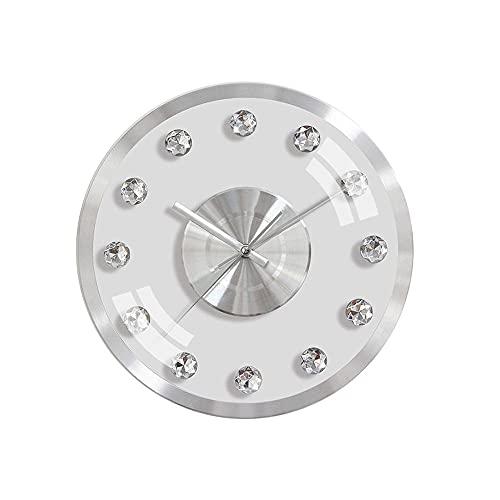 Orologio Da Parete Rotondo 12 Pollici In Metallo Alluminio Strass Trasparenti Semplice Moderno Argento Luce Lusso...