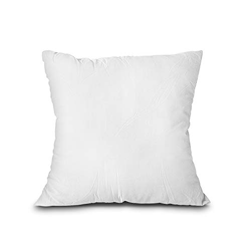 EDOW Throw Pillow Insert, Lightweight Soft Polyester Down Alternative Decorative Pillow, Sham Stuffer, Machine Washable. (White, 18x18)