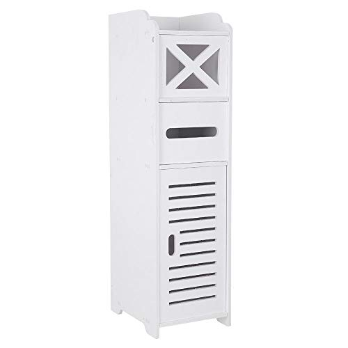 Find Discount XSZ Waterproof Single Door Bathroom Floor Cabinet with A Drawer Toilet Cross Tissues S...