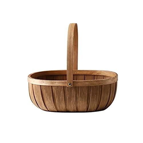 ZNBJJWCP Cesta de mimbre vacía ovalada de sauce tejido caja de Pascua grande almacenamiento frutas verduras cesta con asa cesta de picnic regalo (tamaño grande: