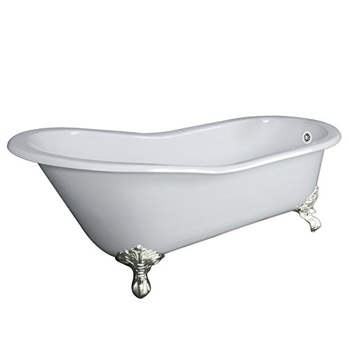 67' Cast Iron Slipper Tub with NO Faucet Holes & Brushed Nickel Feet-'Clay'
