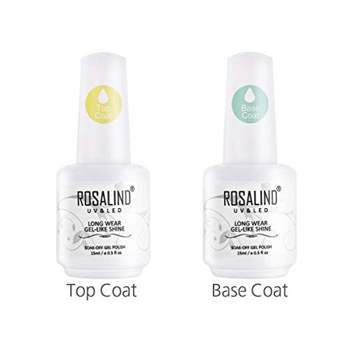 ROSALIND 15ml Base y Top Coat Semipermentes, Esmaltes Semipermanentes de Uñas en Gel UV LED Gel Soak Off