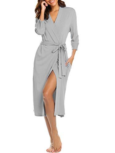 Bluetime Womens Robe Knit Bathrobe Sleepwear Loungewear Lightweight Kimono Robes Long (L, Gray)