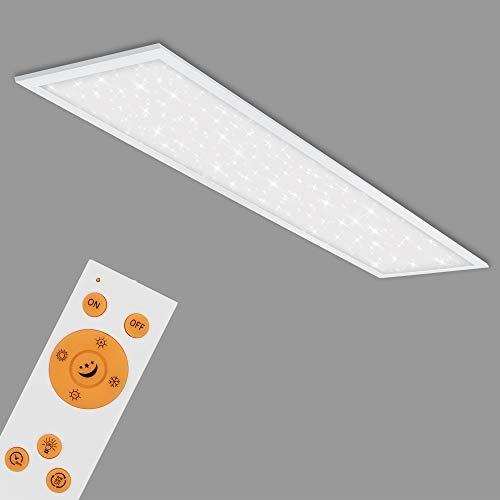 Briloner Leuchten - LED Panel, Deckenlampe inkl. Sternendekor, Deckenleuchte dimmbar, Farbtemperatursteuerung (CCT), inkl. Fernbedienung, 36 Watt, 3.800 Lumen, Weiß, 1195x295x65mm (LxBxH), 7304-016