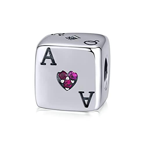 LISHOU Frauen 925 Sterling Silber Perlen Lucky Lucky Dice Poker Spielkarte Charm Anhänger Pandora Armbänder Halskette Perlen DIY Schmuck Herstellung Zubehör