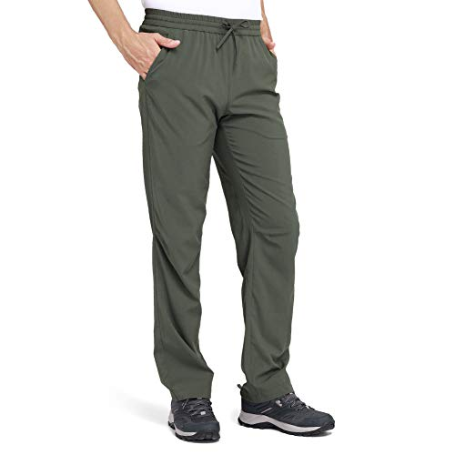 CAMEL Men's Hiking Pants Drawstring Sweatpants Travel Quick-Dry Lightweight Pants Breathable Camping Sweatpants Summer Olive