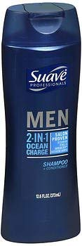 Suave Professionals Men 2-in-1 Shampoo + Conditioner Ocean Charge - 12.6 oz, Pack of 4