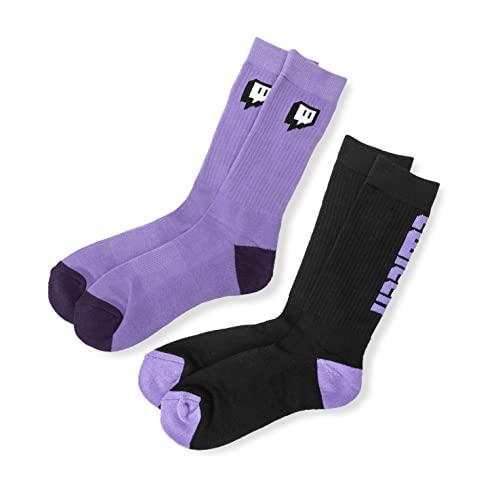 Twitch 2er-Pack Crew-Socken – Violett/Schwarz.