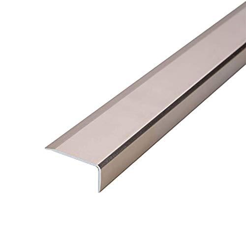 Topshop Tira de transición de Borde de Escalera 2 Piezas 1,2 m de Longitud Escaleras de Aluminio en Forma de L Antideslizante Desgaste Falso 35x20mm Borde de escalón en ángulo