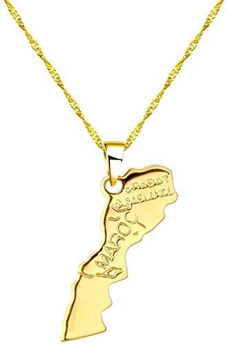 UAGXFC Collar I Love Marruecos Mapa Colgante para Mujeres Hombres Gargantilla Encanto geométrico Collares de Cadena de Oro joyería de Moda