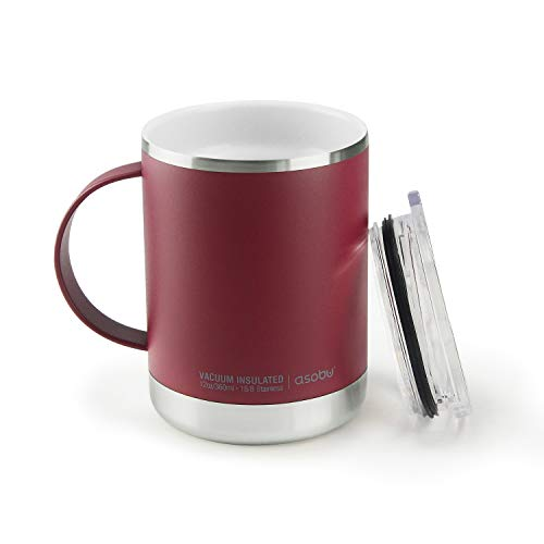 Asobu Ultimate Stainless Steel Ceramic Inner Coating Insulated Travel Mug (Burgundy)