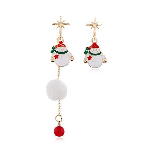 GANFANREN Pendientes de Navidad Patines rojos Muñeco de nieve blanco Campana verde asimetría Pendientes colgantes Moda Mujer Niña Regalo de Navidad (Color: A)