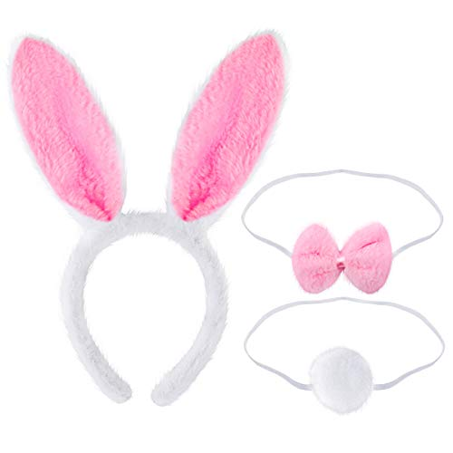 BESTOYARD 3 stücke Bunny Ears Stirnband Fliege Tail Set Kinder Erwachsene Party Cosplay Kostüm (Weiß Rosa)