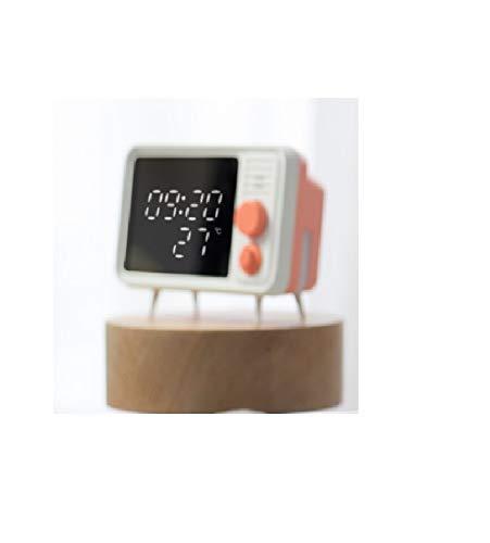 ZYC-WF Reloj de Alarma de TV Retro InduccióN Mesita de Noche LáMpara de Mesa Reloj Puede Grabar Mensajes Altavoz InaláMbrico Bluetooth Luz de la Cama de Noche en la Cama de la Habit