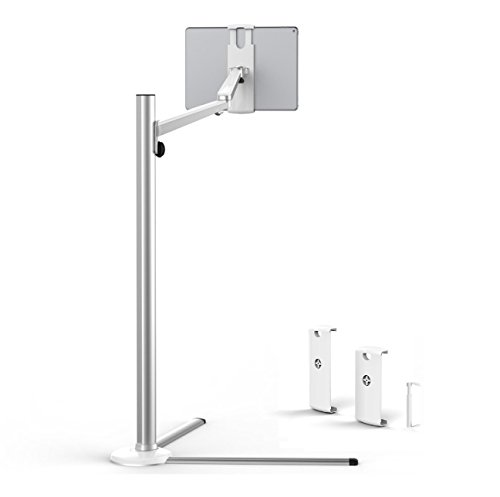Crecontino UP-6S Aluminium Floor Stand, for 3.5'- 13' Tablets and Phones, Standing Holder, Stable, Premium Design, incl. 3x Holders. Height Angle adjustable, rotatable, Professional, Silver