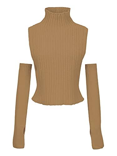 DELIMALI Mujeres Estética Y2K suéter de cuello alto chaleco suelto ligero de punto de jersey...