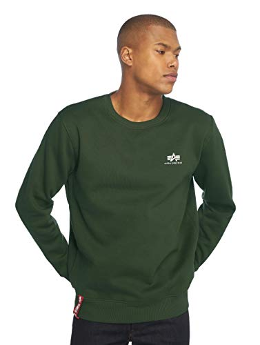 Alpha Industries Herren Pullover Basic Small Logo grün L