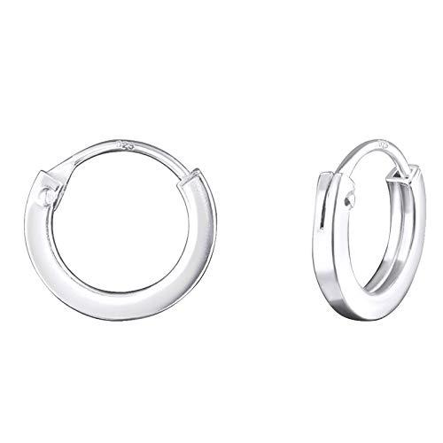 Monkimau Damen Ohrringe Creolen aus 925 Sterling Silver echt Silber mit Durchmesser 10mm