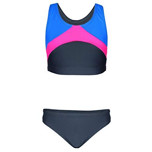 Aquarti Mädchen Sport Bikini Racerback Bustier & Bikinislip, Farbe: Graphit/Blau/Rosa, Größe: 152