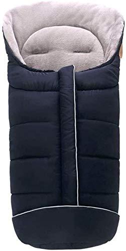 Saco universal for silla de paseo, cochecito, cochecito y silla de paseo - Saco de cochecito de forro polar térmico antideslizante con capucha con cordón y bolsa de viaje (Color : Negro)