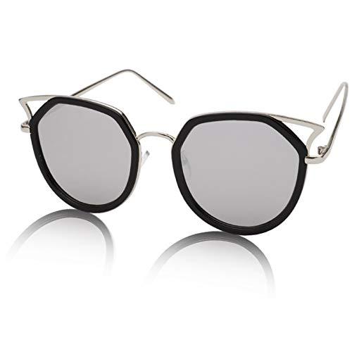 LDH Gafas De Sol De Ojo De Gato De Cara Redonda, Gafas De Sol De Marco Grande De Moda para Mujeres, Gafas De Sol Polarizadas Elegantes para Hombres, UVA UVB (Color : C)
