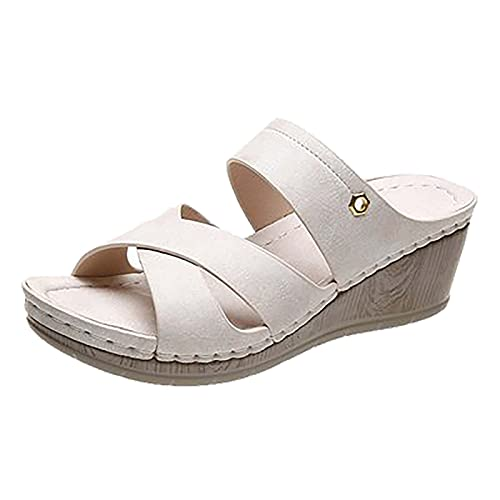 Frauen Sommer Ultraweiche rutschfest Elegant komfortabel Hausschuhe Freizeit Mode Römischer Stil Steigung Flache Schuhe Sneaker Sandalen für weibliche leichte Strandschuhe Outdoor wandere Schuhe