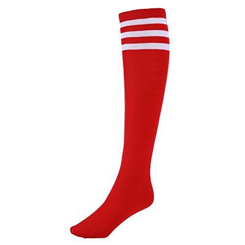 Women s Red Knee High Socks with White Stripes