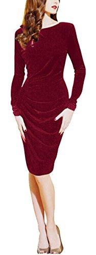 Bestfort Damen Langärmelige Elegant Kleid Etuikleid O-Ausschnitt Business Stretch Partykleid Reißverschluss Samt Cocktail Figurbetontes Knielang Die Taille Im frühjahr und Sommer