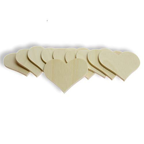 10 Stück Streudeko Herz ohne Bohrung, naturbelassenes Holz, FSC-Zertifiziert, Made in Germany