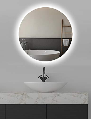 ApeJoy® runder Wandspiegel ø80cm mit beleuchtung, LED Badspiegel mit Touch-Schalter, Lichtspiegel hell Kaltweiß 6500K Energieklasse A++ IP44 (Runde 80cm) AJ01p