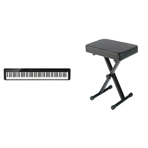 Casio, 88-Key Digital Pianos - Home (PX-S1000BK) & YAMAHA PKBB1 Adjustable Padded Keyboard X-Style Bench, Black,19.5 Inches
