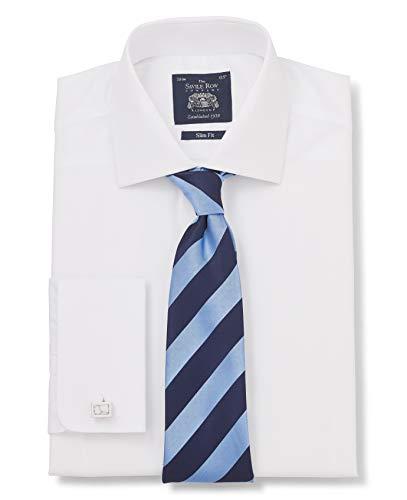 Savile Row Men's White Poplin Slim Fit Shirt 16' Standard & Shortened Double