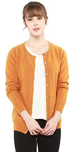 PHELEAD Damen 100% Merinowolle Winterstrickjacke Damen Langarm Slim warm Strick Strickjacke Damen Sweater (M, Ginger)