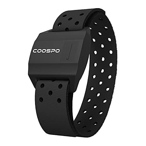 CooSpo HW706 Fascia Cardio da Braccio Bluetooth Ant+, Cardiofrequenzimetro Braccio Sensore di Frequenza Cardiaca Ottica Impermeabile IP67, Compatibile con Wahoo Fitness, Strava, iCardio, DDPY e Altro