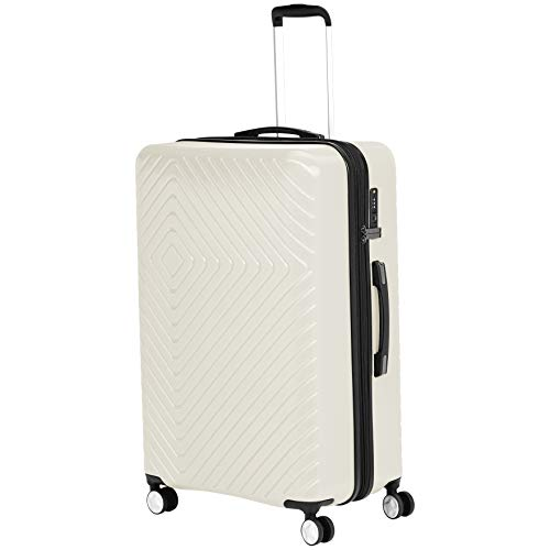 AmazonBasics Geometric Luggage 78 cm, Cream