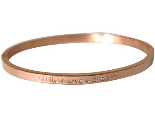 Gemshine - Damen - Armband - Armreif - Smile - Love - Dream - WISHES - Rose Gold - 4 mm