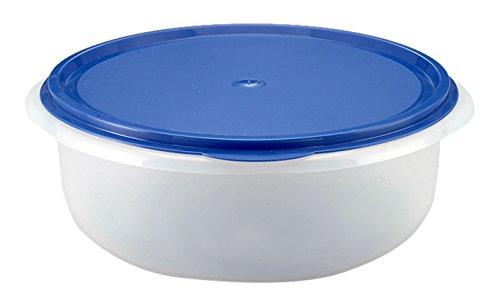 Axentia 231640 Ciotola per Lievitazione con Coperchio Rotonda, Bianco/Blu