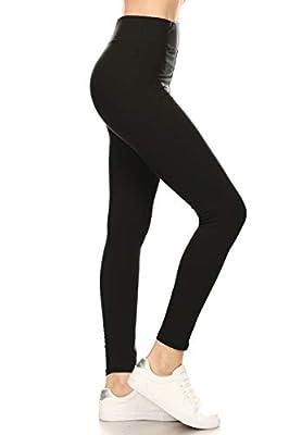 LYR128-BLACK Yoga Solid Leggings, One Size