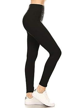 LYX128-BLACK Yoga Solid Leggings Plus Size