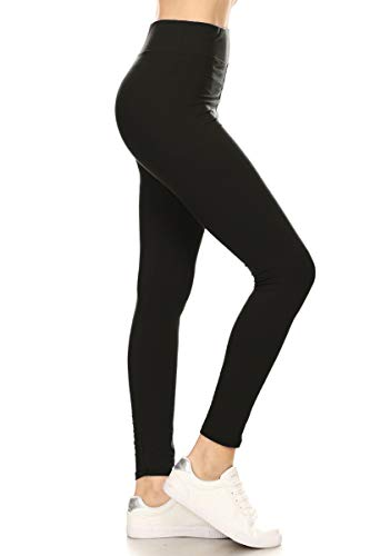 LYR128-BLACK Yoga Solid Leggings, One Size