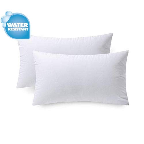IZO Home Goods Premium Outdoor Anti-Mold Water Resistant Hypoallergenic Stuffer Pillow Insert Sham Square Form Polyester, 12' x 20' Rectangle, Standard (2 Pack)/White