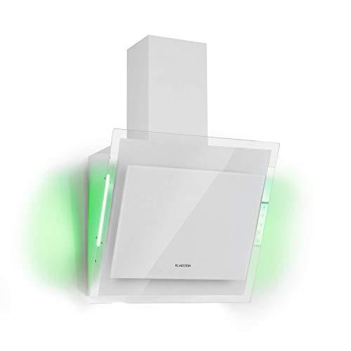 KlarsteinMirage - Campana extractora, Vidrio de seguridad, 3 niveles depotencia, Extracción de salida 550 m³/h, LED multicolor, Eco-Excelencia, Juego de montaje completo, 60 x 50 x 32 cm, Blanco