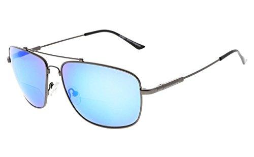 Eyekepper gafas de sol bifocales de memoria gafas de sol de lectura bendable titanium (Gunmetal Marco Azul Espejo, 3.00)